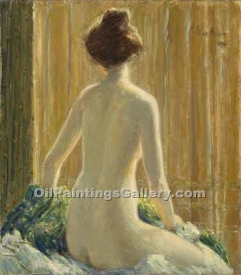 """Nude Seated"" by  Frederick Childe Hassam"