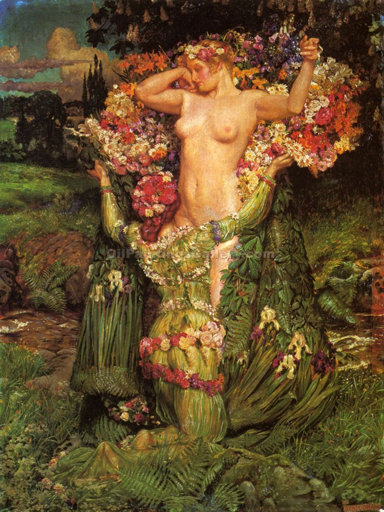 """Rising Spring"" by  John Byam Liston Shaw"