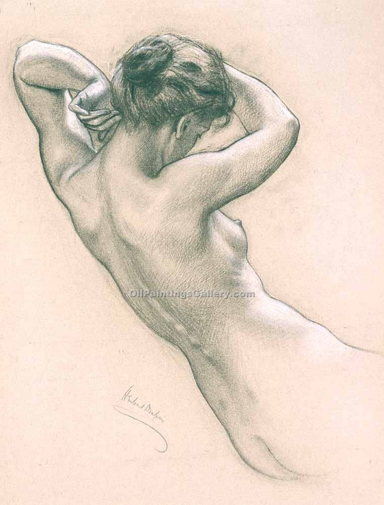 """Study of Florrie Bird for a Water Nymph"" by  Herbert James Draper"