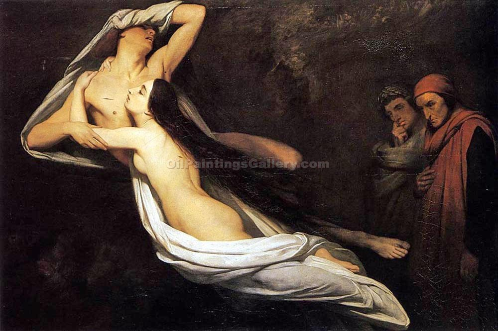 """The Ghosts of Paolo and Francesca Appear to Dante and Virgil"" by  Ary Scheffer"