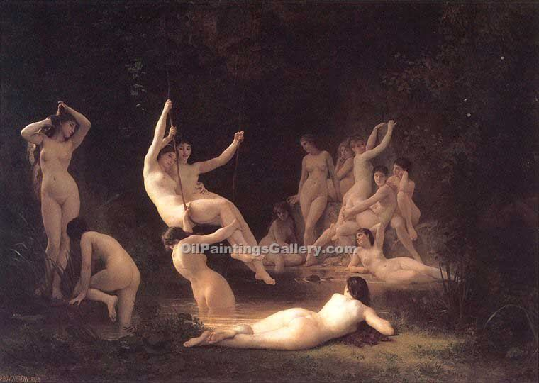 """The Nymphaeum"" by  Adolphe Bouguereau"