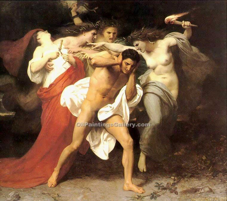"""The Remorse of Orestes"" by  Adolphe Bouguereau"