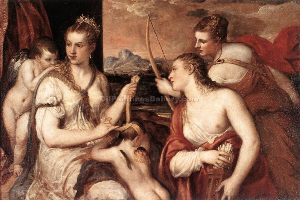 """Venus Blindfolding Cupid"" by   Titian"