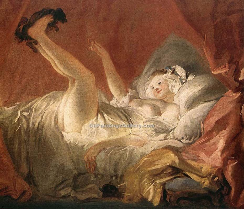 Young Woman Playing with a Dog by Fragonard Jean Honor | Modern Art Artists - Oil Paintings Gallery